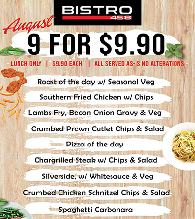 Club Macquarie Bistro 458 Lunch Specials Aug 9 for $9.90