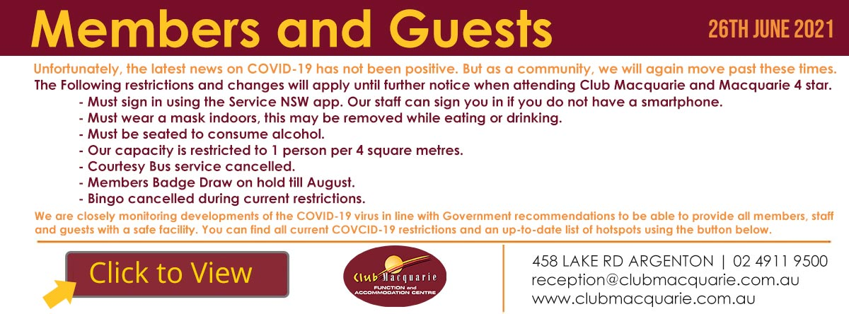 Club Macquarie Restrictions 26 June 2021